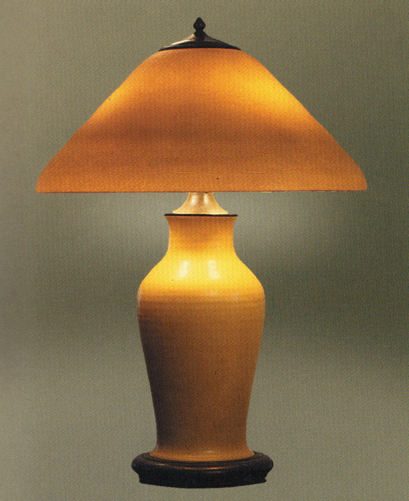 Handel Lamp with Yellow Shade and Base