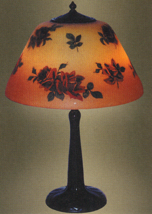 Handel Lamp with Red Roses