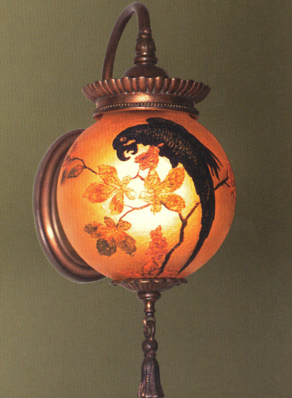 Handel Lantern Ball with Blue Macaw