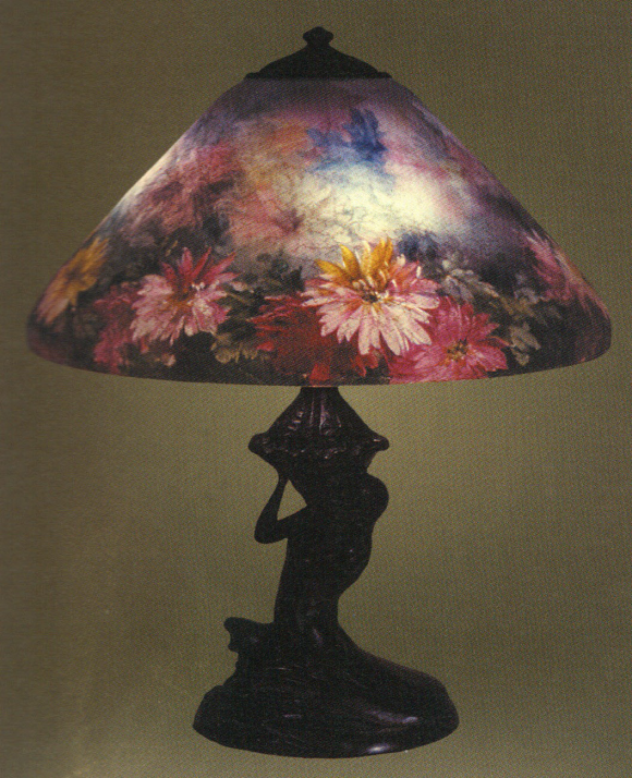 Handel Lamp with Colorful Flower Shade
