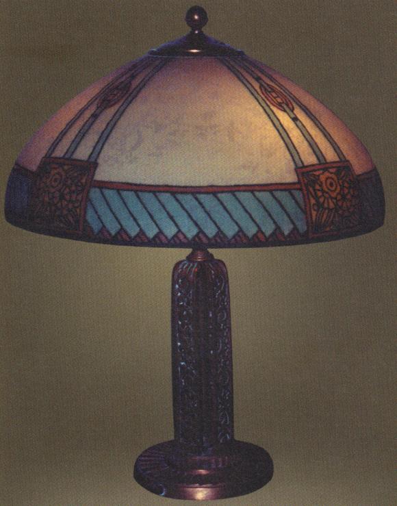 Handel Lamp with Blue Geometric Pattern