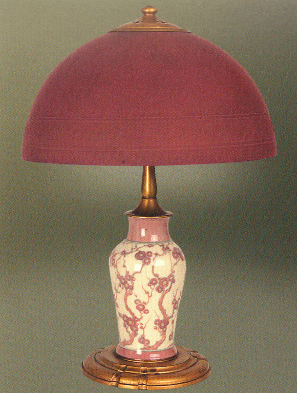 Handel Lamp with Maroon Shade and Base