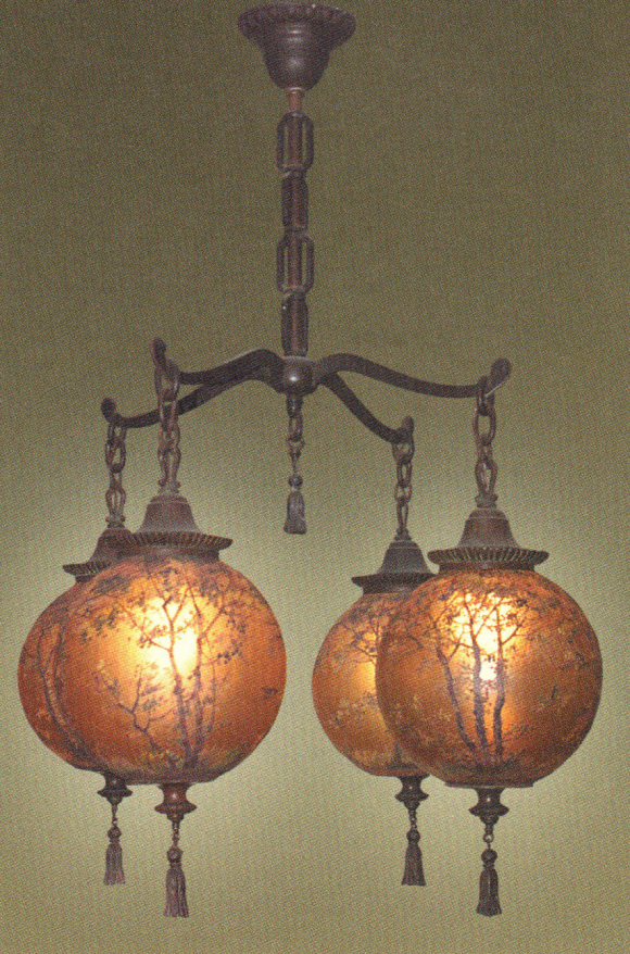 Handel Chandelier with Four Ball Lanterns