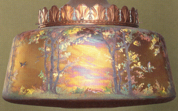 Handel Lamp with Rainbow Colored Shade