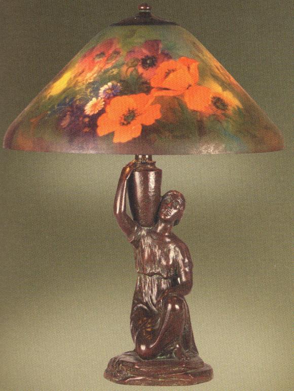Handel Lamp with Orange Poppy Flowers