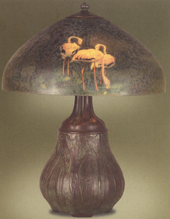 Handel Lamp with Pink Flamingos