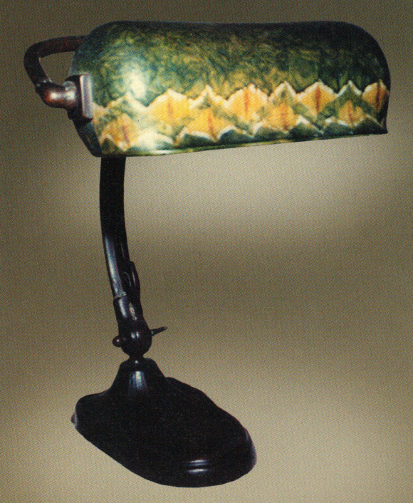 Handel Piano Lamp with Green Shade