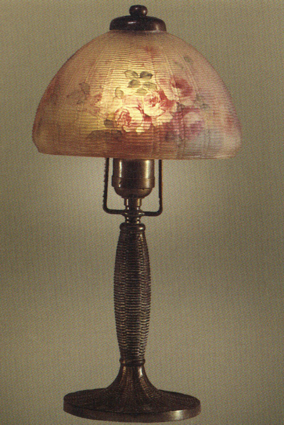 Handel Boudoir Lamp with Pink Roses