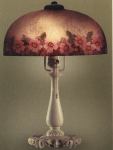 Handel Lamp with Reverse Painted Flowers