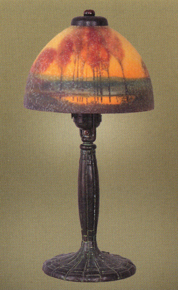 Handel Lamp with Red Trees