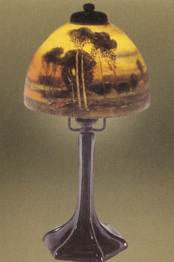 Handel Boudoir Lamp with Forest Scene
