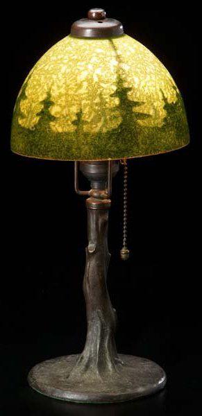 Handel Lamp with Drawn Pine Trees
