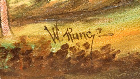 Handel Shade with W. Runge Signature